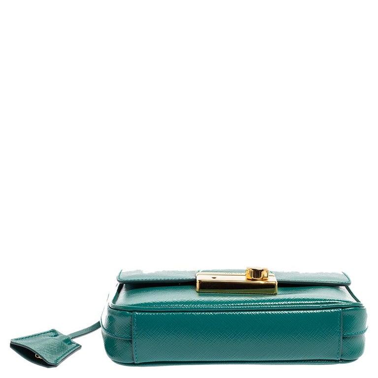 Prada Turquoise Saffiano Vernic Leather Mini Crossbody Bag For Sale 1