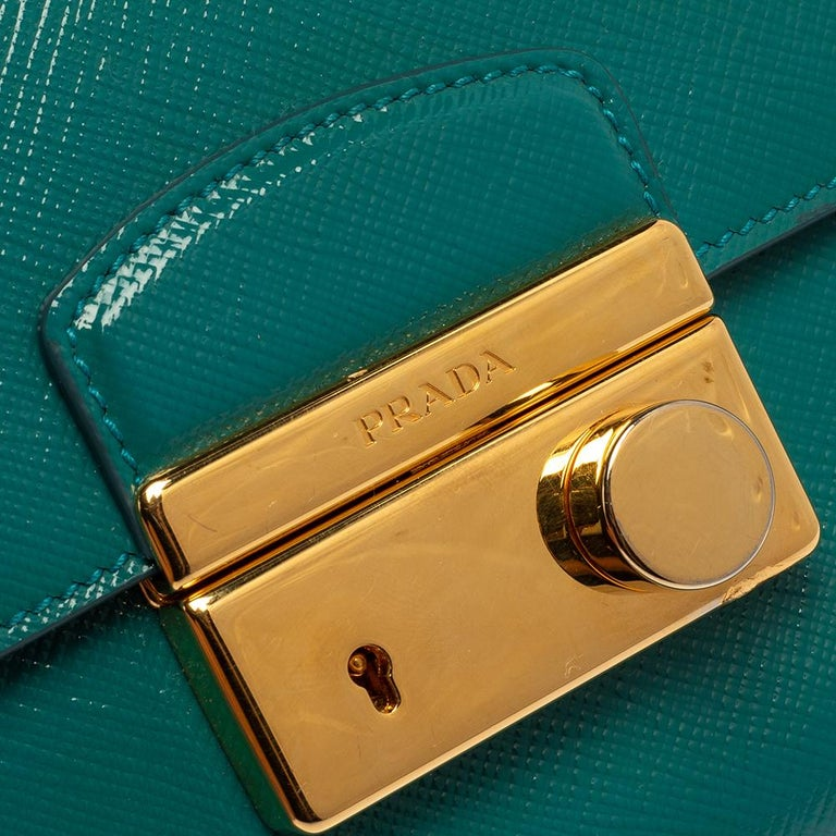 Prada Turquoise Saffiano Vernic Leather Mini Crossbody Bag For Sale 2