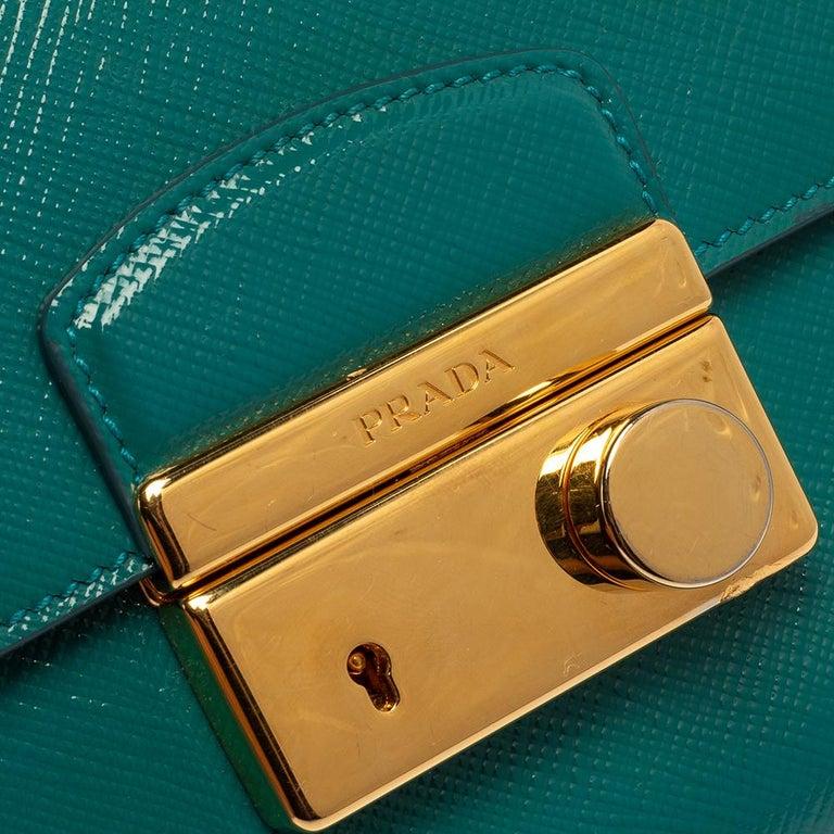 Prada Turquoise Saffiano Vernic Leather Mini Crossbody Bag For Sale 3
