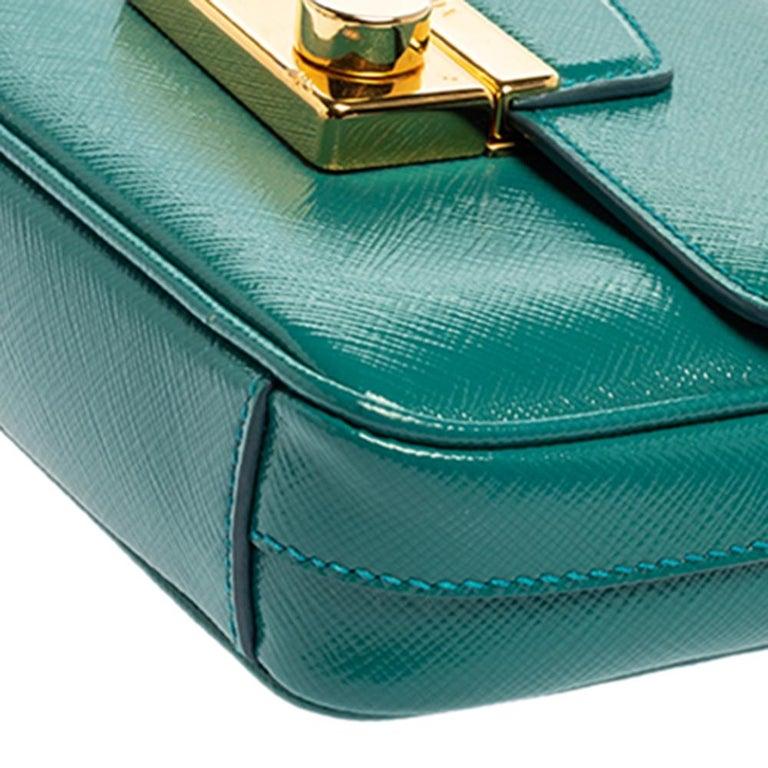 Prada Turquoise Saffiano Vernic Leather Mini Crossbody Bag For Sale 4