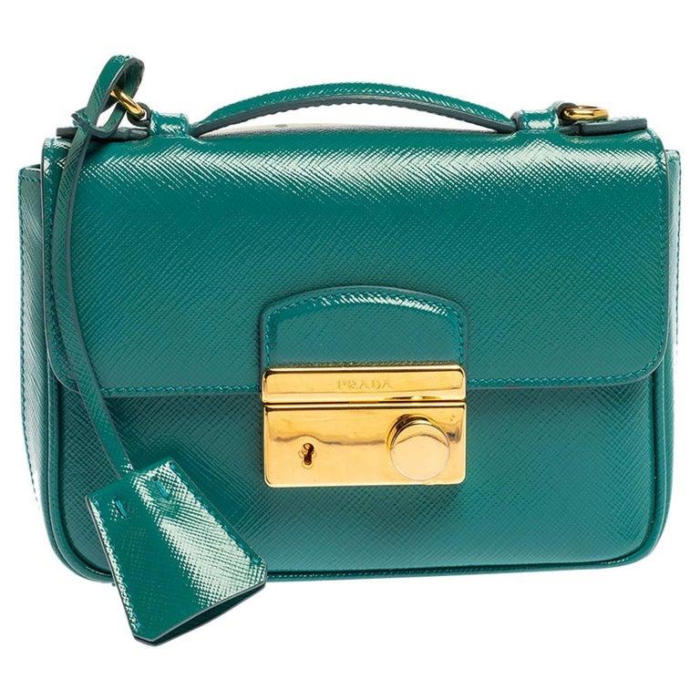 Prada Turquoise Saffiano Vernic Leather Mini Crossbody Bag For Sale