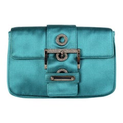 PRADA turquoise satin EMBELLISHED BUCKLE Shoulder Bag