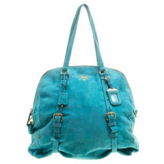 Prada Turquoise Suede New Look Tote