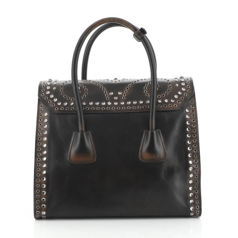 Prada Twin Pocket Lock Flap Tote Studded Vitello Vintage Medium In Good Condition In New York, NY