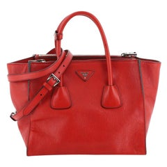 Prada Twin Pocket Tote Glace Calf Medium