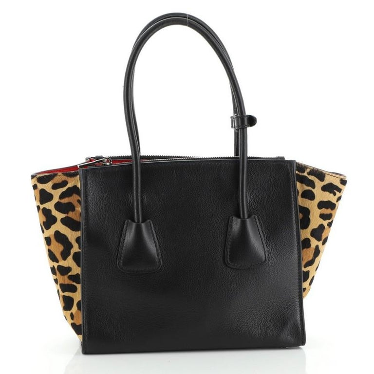 Black Prada Twin Pocket Tote Glace Calf with Cavallino Calf Hair Small For Sale