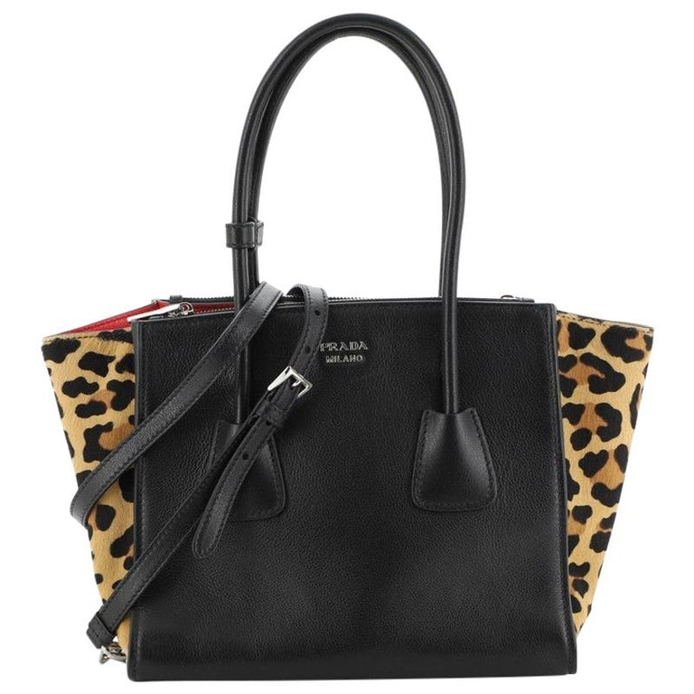 Prada Twin Pocket Tote Glace Calf with Cavallino Calf Hair Small For Sale