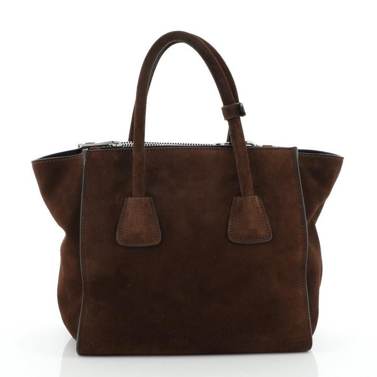 Prada Twin Pocket Tote Suede Small In Good Condition For Sale In New York, NY