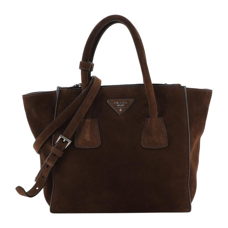 Prada Twin Pocket Tote Suede Small For Sale