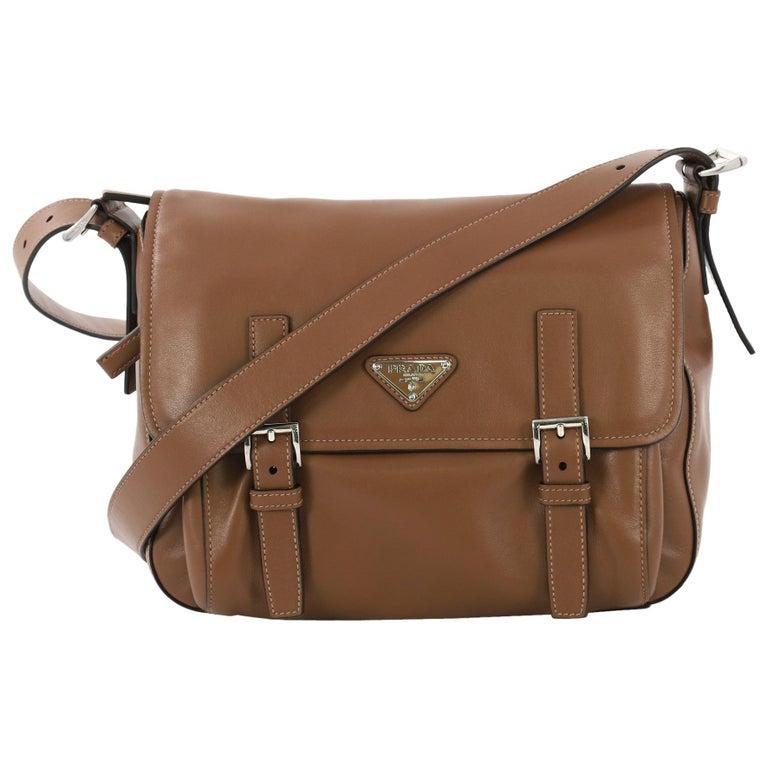 17736c60d2 Prada Two Pocket Messenger Bag Leather Medium For Sale at 1stdibs
