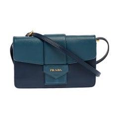 Prada Two Tone Blue Saffiano Leather Flap Crossbody Bag