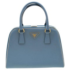 Prada Two Tone Blue Saffiano Leather Frame Top Handle Bag