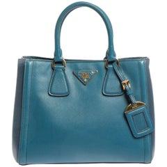 Prada Two Tone Blue Saffiano Leather Small Tote