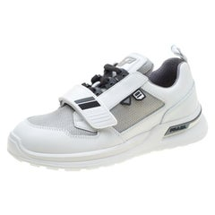 Prada Two Tone Mechano Leather and Technical Fabric Platform Sneakers Size 39