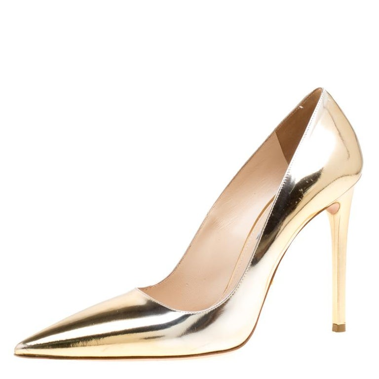 4473b9b2f97e Prada Two Tone Metallic Leather Pointed Toe Pumps Size 39.5 For Sale at  1stdibs