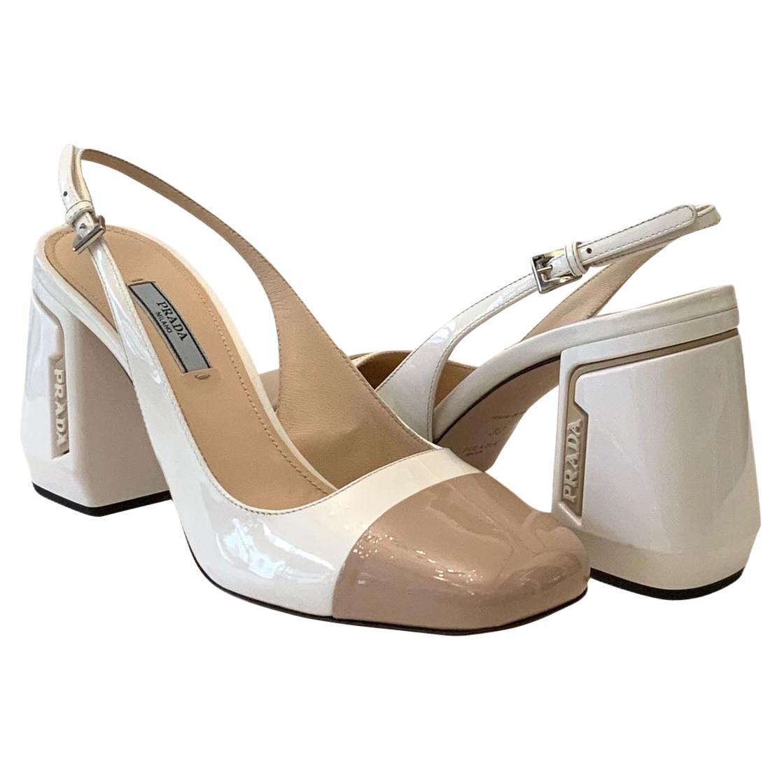Prada Two Tone Patent Leather Block Heel Slingback Pumps