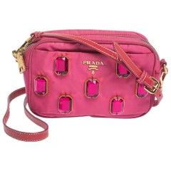 Prada Two Tone Pink Nylon and Patent Leather Jeweled Camera Crossbody Bag