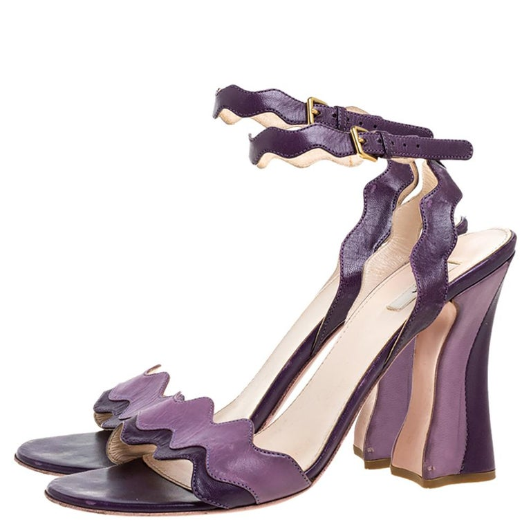 Gray Prada Two Tone Purple Leather Wave Ankle Strap Sandals Size 37 For Sale