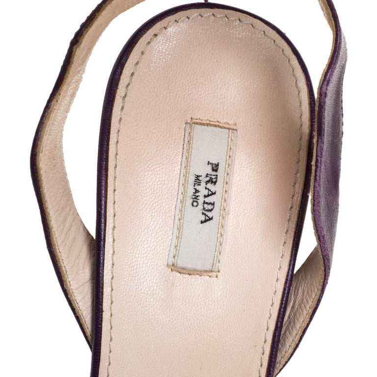 Prada Two Tone Purple Leather Wave Ankle Strap Sandals Size 37 For Sale 1