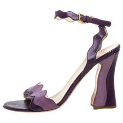 Prada Two Tone Purple Leather Wave Ankle Strap Sandals Size 37