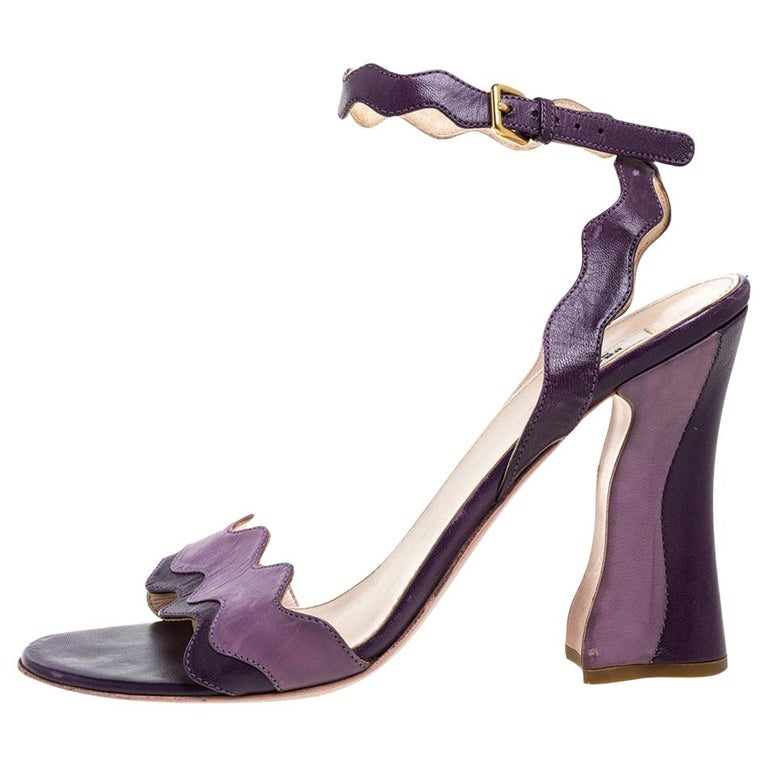 Prada Two Tone Purple Leather Wave Ankle Strap Sandals Size 37 For Sale