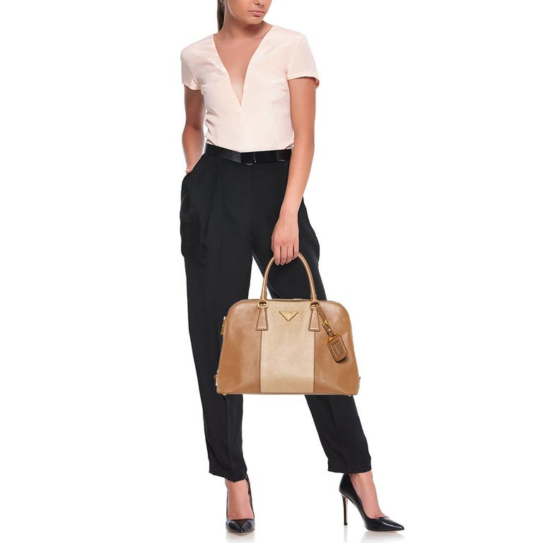 Brown Prada Two Tone Saffiano Lux Leather Promenade Satchel For Sale