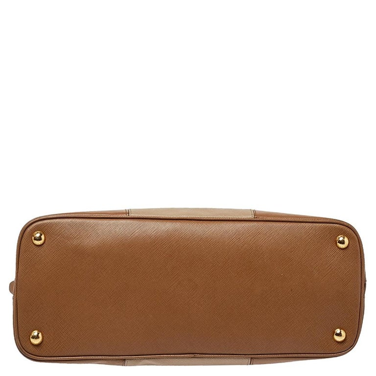 Women's Prada Two Tone Saffiano Lux Leather Promenade Satchel For Sale