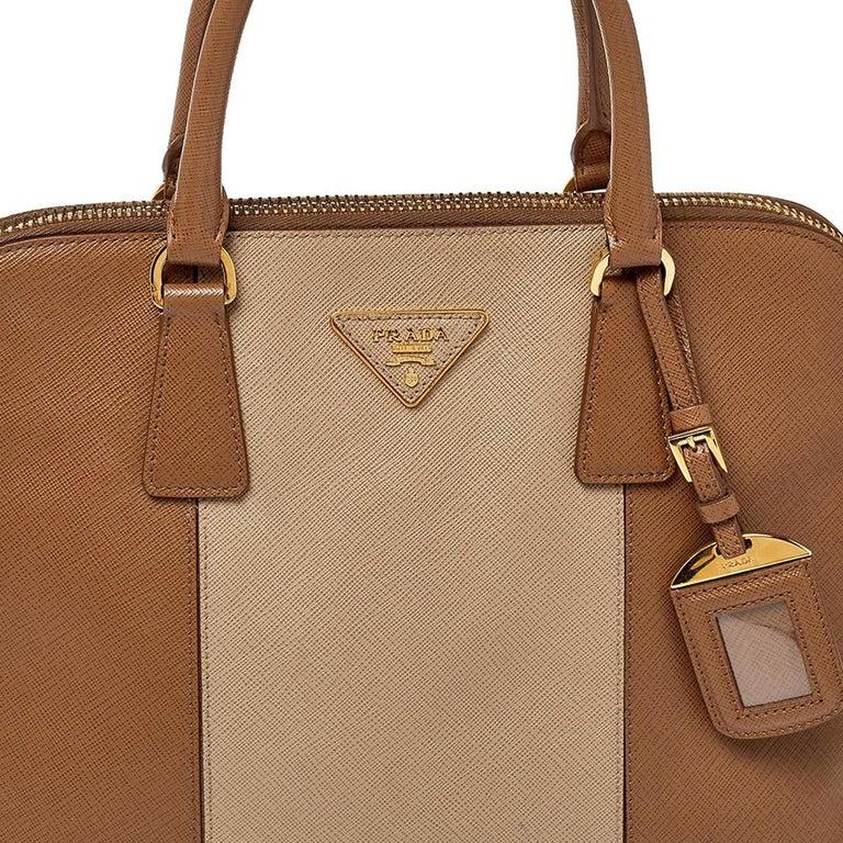 Prada Two Tone Saffiano Lux Leather Promenade Satchel For Sale 1