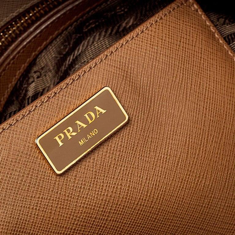 Prada Two Tone Saffiano Lux Leather Promenade Satchel For Sale 2