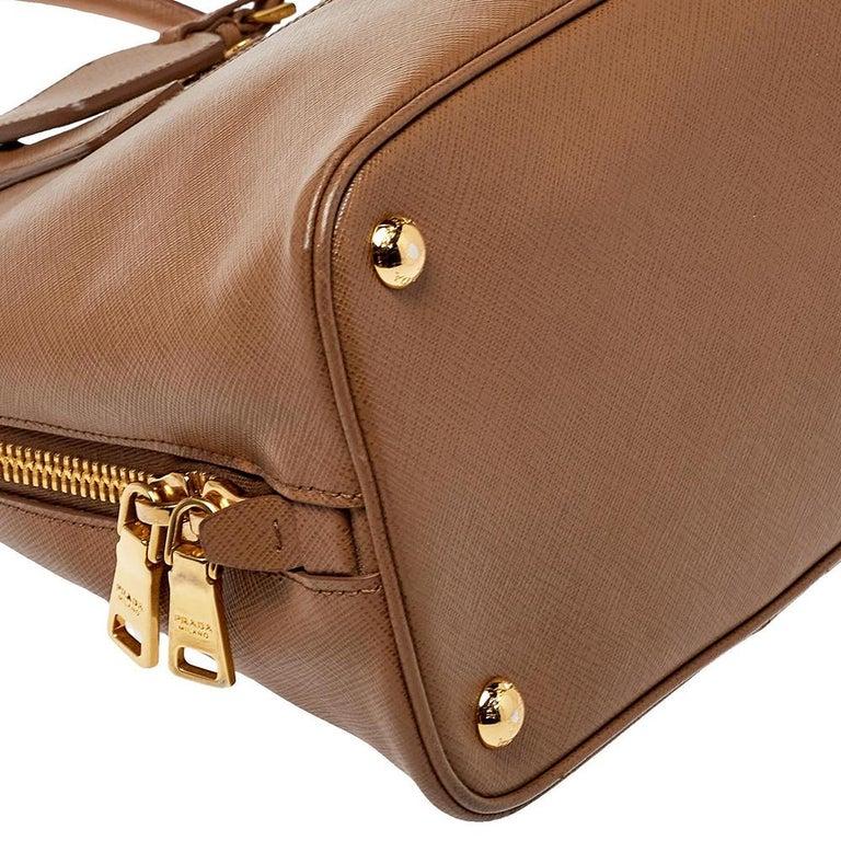 Prada Two Tone Saffiano Lux Leather Promenade Satchel For Sale 3
