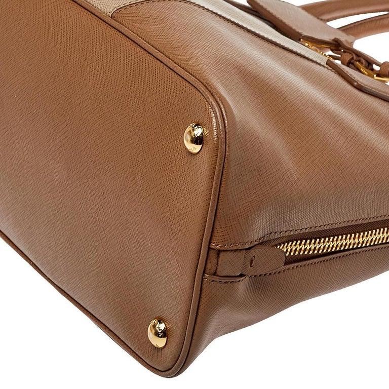 Prada Two Tone Saffiano Lux Leather Promenade Satchel For Sale 4