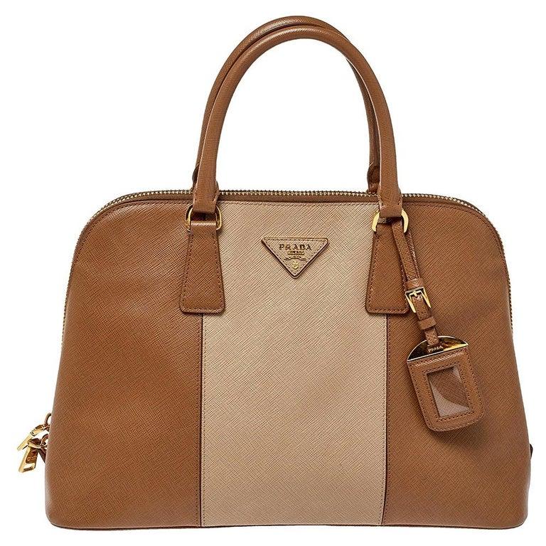 Prada Two Tone Saffiano Lux Leather Promenade Satchel For Sale