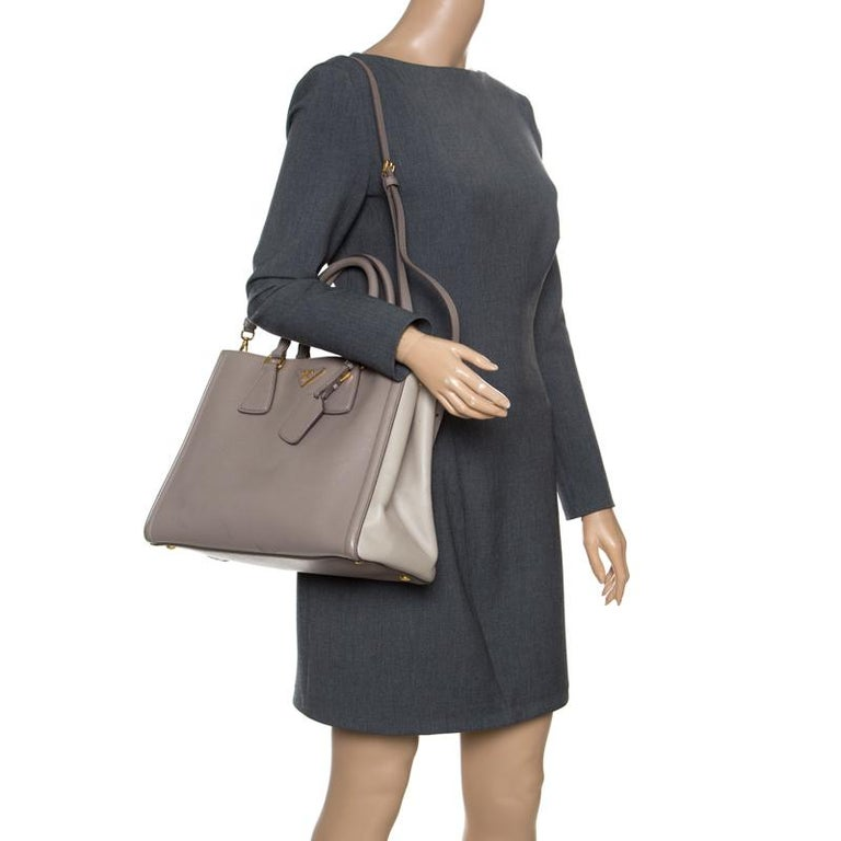 288abdb4fa24 Prada Two Tone Taupe Saffiano Lux Leather Shopper Tote For Sale. Elegantly  crafted exuding a classic finish, this Prada shopper tote is a must-have