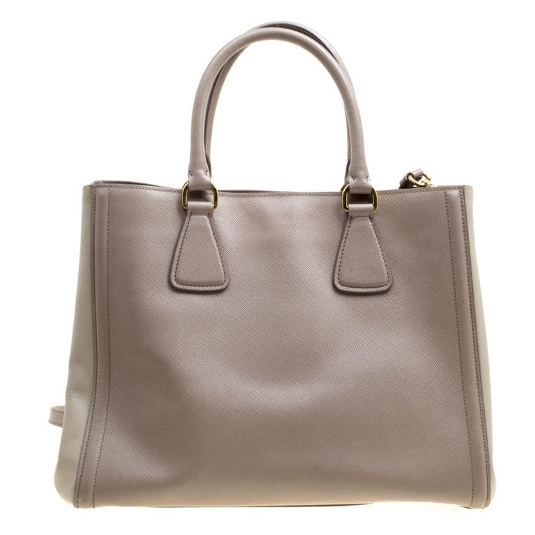 031ab6ad57b5 Brown Prada Two Tone Taupe Saffiano Lux Leather Shopper Tote For Sale