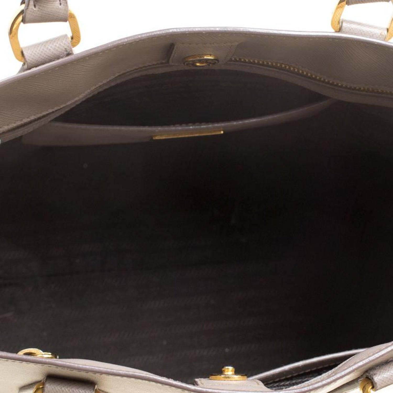 e10a8dc3a55b77 Prada Two Tone Taupe Saffiano Lux Leather Shopper Tote at 1stdibs