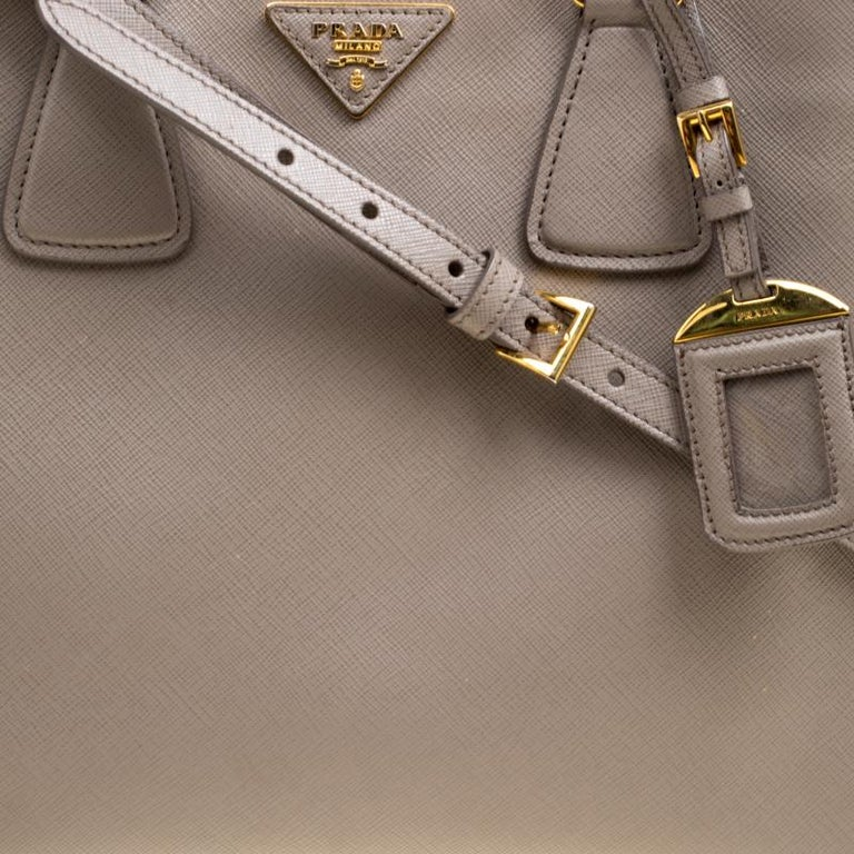 379fdf0b521a Women's Prada Two Tone Taupe Saffiano Lux Leather Shopper Tote For Sale