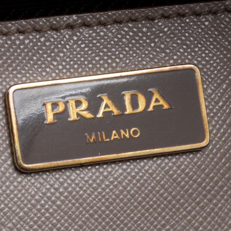 f59a558b2f7da8 Prada Two Tone Taupe Saffiano Lux Leather Shopper Tote For Sale 2