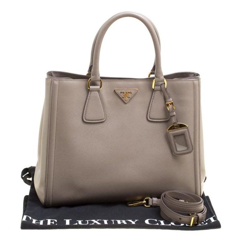 117b0dc2b9ef Prada Two Tone Taupe Saffiano Lux Leather Shopper Tote For Sale 3