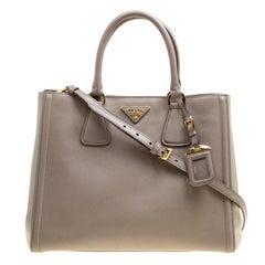 Prada Two Tone Taupe Saffiano Lux Leather Shopper Tote