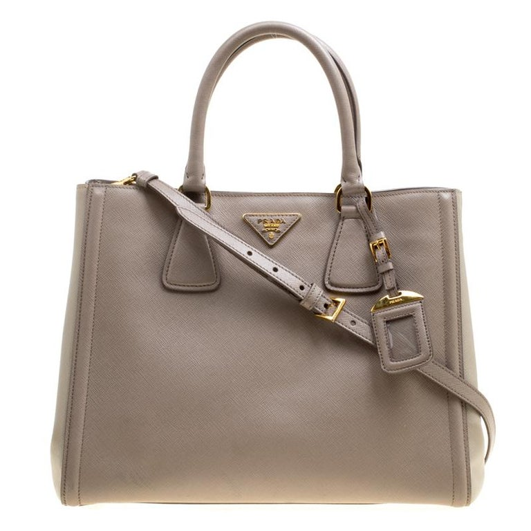 c2f40130cb7a Prada Two Tone Taupe Saffiano Lux Leather Shopper Tote at 1stdibs