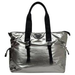 Prada Unisex Silver Ferro Tessuto Nylon Metallic Tote Bag rt $1,270