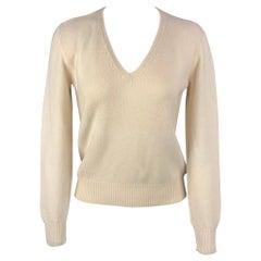 PRADA V-Neck Size 6 Cream Wool / Cashmere V-neck Pullover