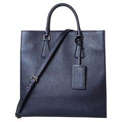 Prada VA1016 Baltico Blue Saffiano Leather East/West Travel Tote Bag w/Strap