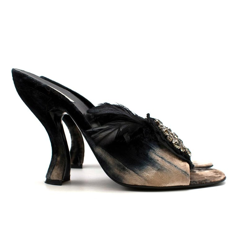 Prada Velvet Jewel Sandals 39.5  - Embellished jewels and feather detailing on the front  - Tonal fade on the velvet with a two-way texture in cream, blue and black - Squared almond toes - Chunky curvy heel with a wide base - Leather sole - Slip on