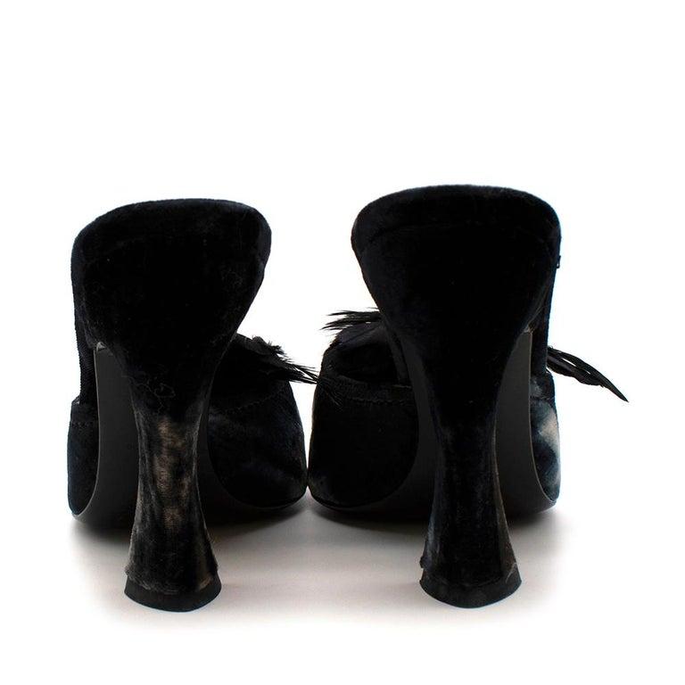Black Prada Velvet Jewelled Feather Trim Sandals 39.5 For Sale