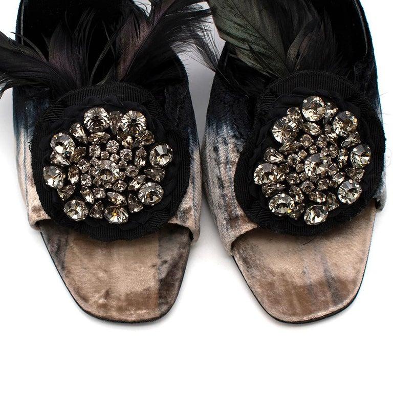 Women's or Men's Prada Velvet Jewelled Feather Trim Sandals 39.5 For Sale