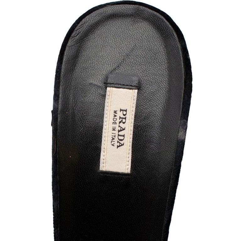 Prada Velvet Jewelled Feather Trim Sandals 39.5 For Sale 1