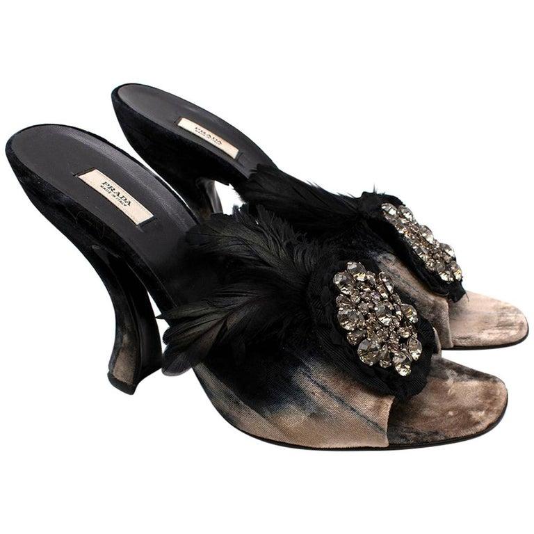 Prada Velvet Jewelled Feather Trim Sandals 39.5 For Sale