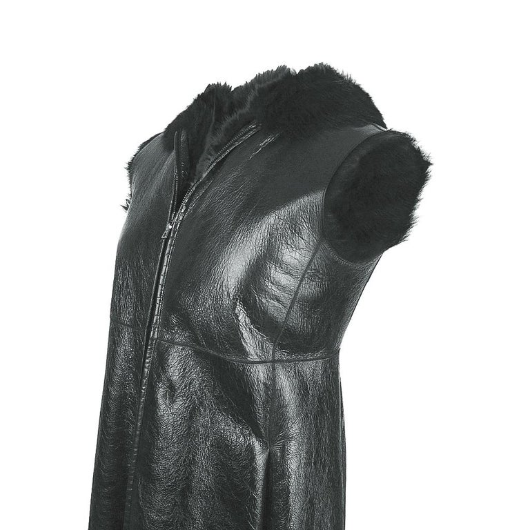 Prada Vest Knee Length Patent Leather Shearling Fur  42 / 8 For Sale 1