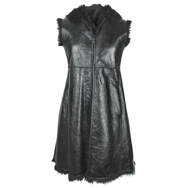 Prada Vest Knee Length Patent Leather Shearling Fur  42 / 8 For Sale